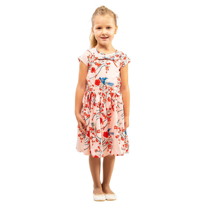 Girls Kids Vintage Style Peter Pan Collar Dresses Bird Pink Age 3 – 12 Years