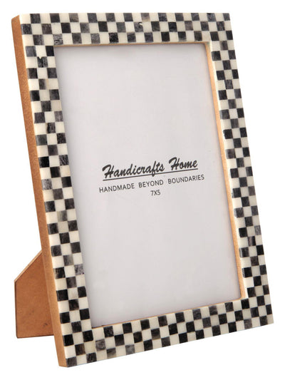 Checked Pattern Picture Frames Bone Inlay Photo Frame - 5x7