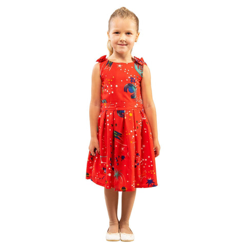 Girls Kids Vintage Style Shoulder Bow Dresses sizes from Galaxy Red Age 3 – 12 Years