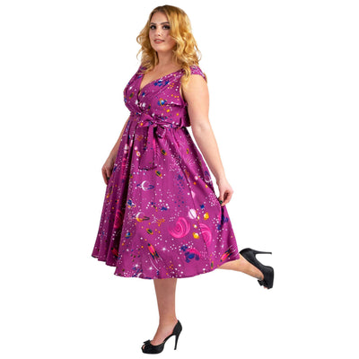 Women's Fashion Clothing Retro Galaxy Rockabilly Vintage Dresses Purple