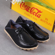 112310 Women Casual Ladies Black Leather Slip On Comfort Moccasin Shoes