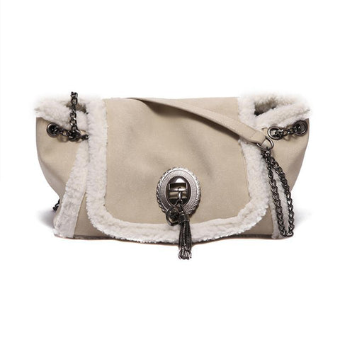 Damen Wintermode Lamm Plüsch Schulter Crossbody Chain Bag