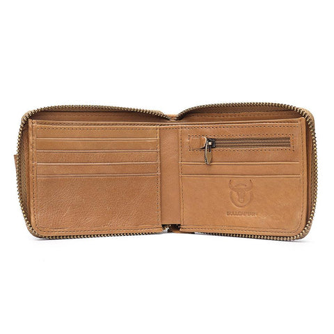 Männer RFID Antimagnetic Solid Cowhide 11 Kartenfächer Coin Bag Zipper Wallet