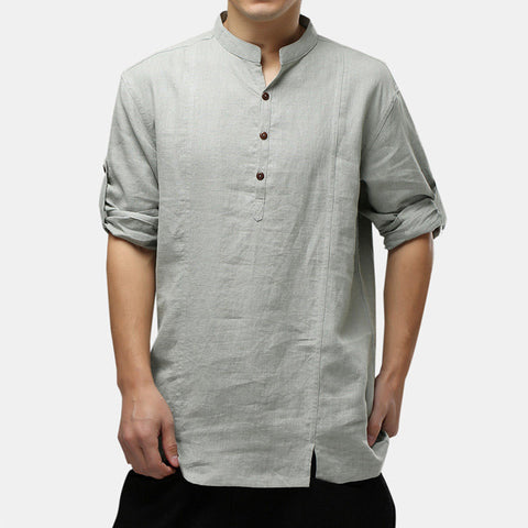 Mens 100% Baumwolle nationale Art Drei-Viertel-Hülsen-Plain lose Henley Shirts
