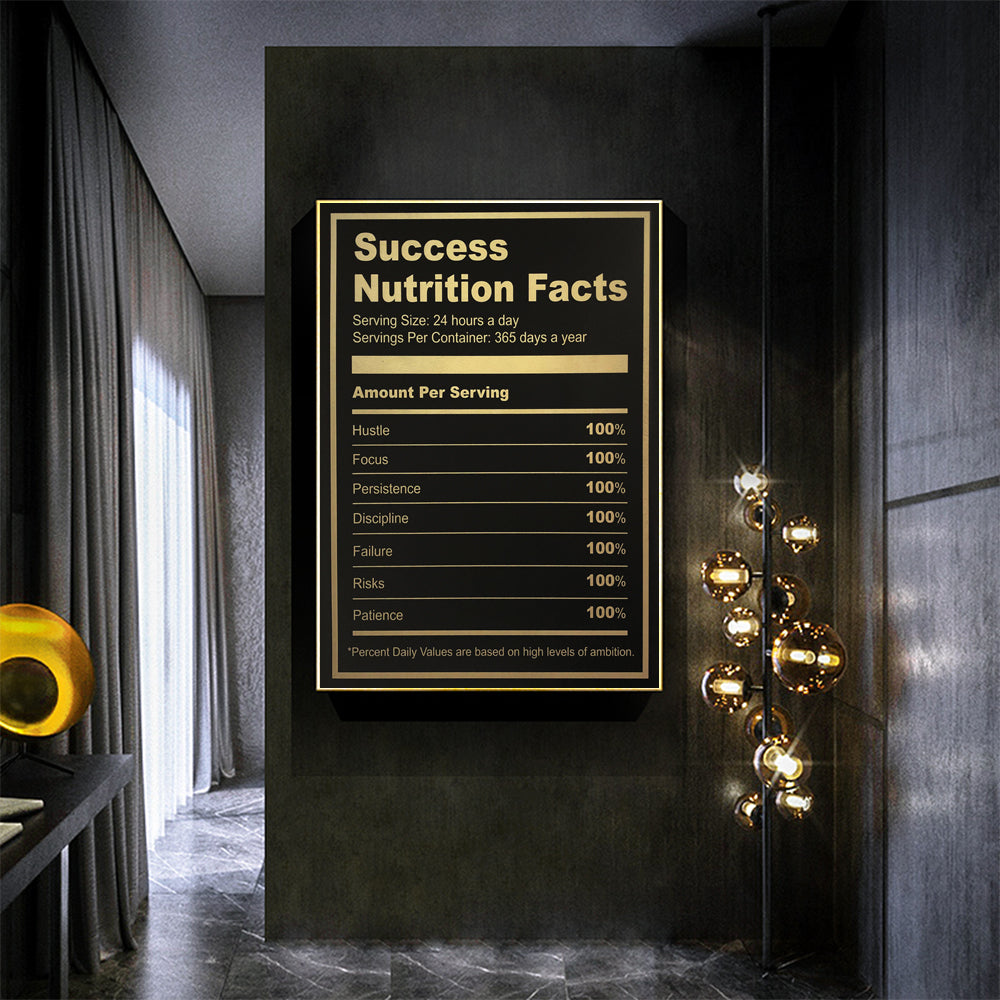 Ingredients For Success Motivational Quote: Canvas Art Poster Home Decor