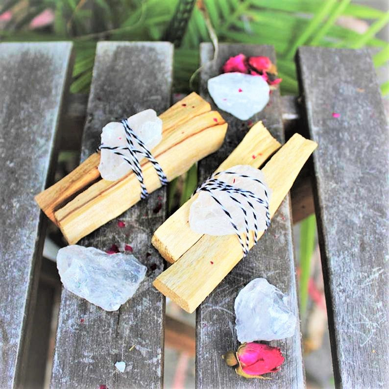Palo Santo Wrapped Quartz Bundle - Good Vibes Care Pack