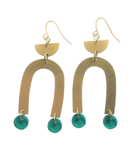Load image into Gallery viewer, These Pops of Peppermint Green Rainbow, gold brass geometric earrings are fun and will make you feel happy and cheerful, while adding the perfect pop of color to your wardrobe! Our colorful, 70's and 80's inspired earrings are handmade and designed with love in Las Vegas and like totally, make a groovy statement!