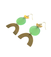 Load image into Gallery viewer, These Apple of My Eye Rainbow green, gold brass geometric earrings are fun and will make you feel happy and cheerful, while adding the perfect pop of color to your wardrobe! Our colorful, 70's and 80's inspired earrings are handmade and designed with love in Las Vegas and like totally, make a groovy statement!