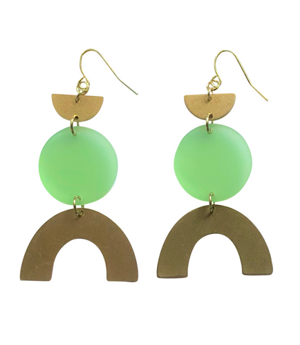 These Apple of My Eye Rainbow green, gold brass geometric earrings are fun and will make you feel happy and cheerful, while adding the perfect pop of color to your wardrobe! Our colorful, 70's and 80's inspired earrings are handmade and designed with love in Las Vegas and like totally, make a groovy statement!