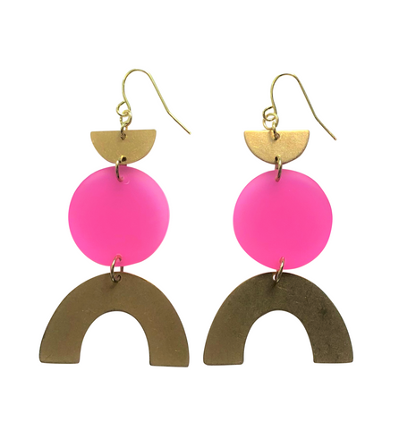 These Bubblegum Fun Pink Rainbow gold brass, glitter geometric earrings are fun and will make you feel happy and cheerful, while adding the perfect pop of color to your wardrobe! Our colorful, 70's and 80's inspired earrings are handmade and designed with love in Las Vegas and like totally, make a groovy statement!