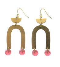 Load image into Gallery viewer, These Cotton Candy Drops Pink Rainbow, gold brass geometric earrings are fun and will make you feel happy and cheerful, while adding the perfect pop of color to your wardrobe! Our colorful, 70's and 80's inspired earrings are handmade and designed with love in Las Vegas and like totally, make a groovy s