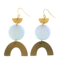 Load image into Gallery viewer, These Razzle Dazzle Rainbow gold brass, iridescent glitter geometric earrings are fun and will make you feel happy and cheerful, while adding the perfect pop of color to your wardrobe! Our colorful, 70's and 80's inspired earrings are handmade and designed with love in Las Vegas and like totally, make a groovy statement!