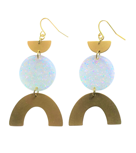 These Razzle Dazzle Rainbow gold brass, iridescent glitter geometric earrings are fun and will make you feel happy and cheerful, while adding the perfect pop of color to your wardrobe! Our colorful, 70's and 80's inspired earrings are handmade and designed with love in Las Vegas and like totally, make a groovy statement!