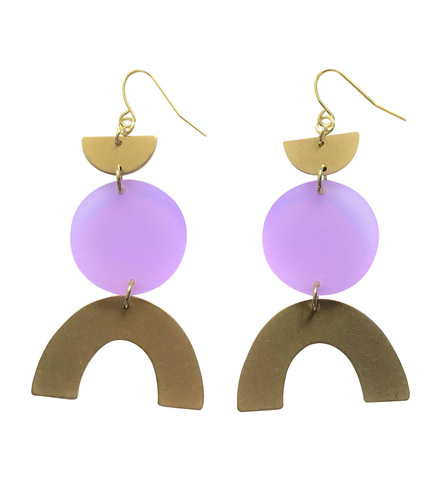 These Sugarplum Lavender Rainbow gold brass, glitter geometric earrings are fun and will make you feel happy and cheerful, while adding the perfect pop of color to your wardrobe! Our colorful, 70's and 80's inspired earrings are handmade and designed with love in Las Vegas and like totally, make a groovy statement!
