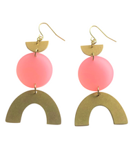 Load image into Gallery viewer, These Tangerine Dream Coral Rainbow gold brass, glitter geometric earrings are fun and will make you feel happy and cheerful, while adding the perfect pop of color to your wardrobe! Our colorful, 70's and 80's inspired earrings are handmade and designed with love in Las Vegas and like totally, make a groovy statement!