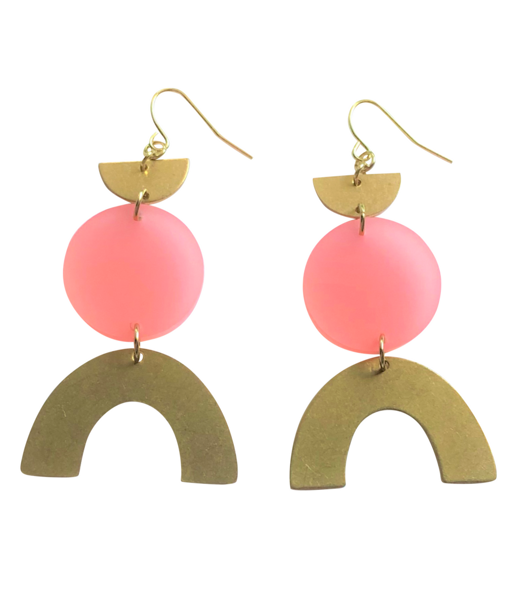 These Tangerine Dream Coral Rainbow gold brass, glitter geometric earrings are fun and will make you feel happy and cheerful, while adding the perfect pop of color to your wardrobe! Our colorful, 70's and 80's inspired earrings are handmade and designed with love in Las Vegas and like totally, make a groovy statement!