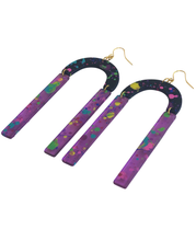 Load image into Gallery viewer, These 80's inspired Pump Up The Jam Splatter Paint purple, black, rainbow laser cut acrylic statement earrings are fun and will make you feel happy and cheerful, while adding the perfect pop of color to your wardrobe! Our colorful, eighties inspired earrings are handmade and designed with love in Las Vegas and like totally, make a statem
