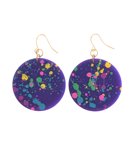 These 80's Awesome Geometric Splatter Paint Earrings in purple rainbow are fun and will make you feel happy and cheerful, while adding the perfect pop of color to your wardrobe! Our colorful, eighties inspired earrings are handmade and designed with love in Las Vegas and like totally, make a statement!