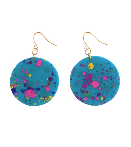 These 80's Awesome Geometric Splatter Paint Earrings in aqua rainbow are fun and will make you feel happy and cheerful, while adding the perfect pop of color to your wardrobe! Our colorful, eighties inspired earrings are handmade and designed with love in Las Vegas and like totally, make a statement!