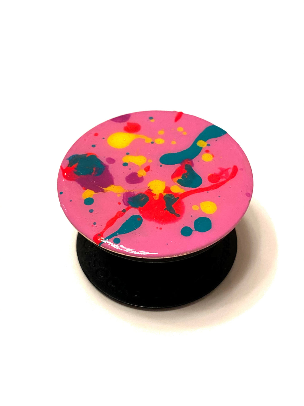 80's Awesome Pink Rainbow Splatter Paint Popsocket Phone Grip