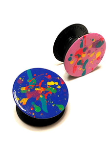 80's Awesome Blue Rainbow Splatter Paint Popsocket Phone Grip