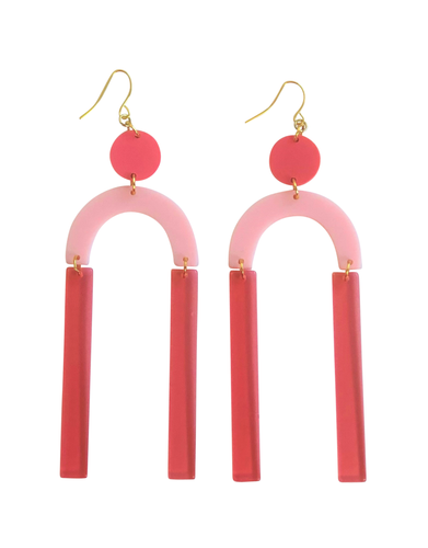 Cool Coral, pink geometric acrylic earrings are fun and will make you feel happy and cheerful, while adding the perfect pop of color to your wardrobe! Our colorful, eighties inspired earrings are handmade and designed with love in Las Vegas and like totally, make a statement!