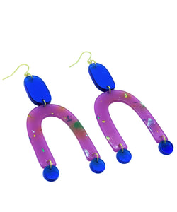 Major Metallic Rainbow Confetti purple, blue geometric acrylic earrings are fun and will make you feel happy and cheerful, while adding the perfect pop of color to your wardrobe! Our colorful, eighties inspired earrings are handmade and designed with love in Las Vegas and like totally, make a statement!