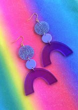 Load image into Gallery viewer, Discotheque purple, silver glitter rainbow geometric acrylic earrings are fun and will make you feel happy and cheerful, while adding the perfect pop of color to your wardrobe! Our colorful, eighties inspired earrings are handmade and designed with love in Las Vegas and like totally, make a statement!