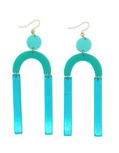 Mod Mint green, aqua geometric acrylic earrings are fun and will make you feel happy and cheerful, while adding the perfect pop of color to your wardrobe! Our colorful, eighties inspired earrings are handmade and designed with love in Las Vegas and like totally, make a statement!