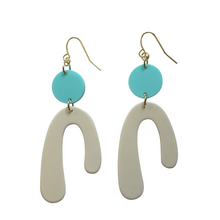 Load image into Gallery viewer, These Dejlig (meaning lovely + beautiful in Danish) cream and aqua mint pastel geometric acrylic earrings are fun and will make you feel happy and cheerful, while adding the perfect pop of color to your wardrobe! Our colorful, eighties inspired earrings are handmade and designed with love in Las Vegas and like totally, make a statement!