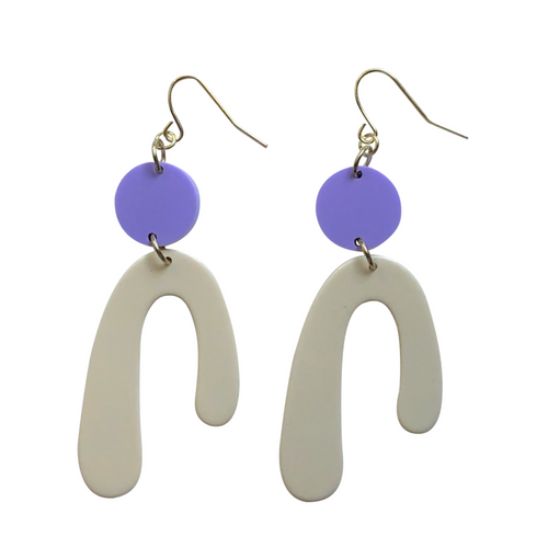 These Lilla cream and lavender pastel geometric acrylic earrings are fun and will make you feel happy and cheerful, while adding the perfect pop of color to your wardrobe! Our colorful, eighties inspired earrings are handmade and designed with love in Las Vegas and like totally, make a statement!