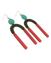 Load image into Gallery viewer, Staying Alive coral, olive green and aqua geometric acrylic earrings are fun and will make you feel happy and cheerful, while adding the perfect pop of color to your wardrobe! Our colorful, eighties inspired earrings are handmade and designed with love in Las Vegas and like totally, make a statement!