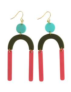 Staying Alive coral, olive green and aqua geometric acrylic earrings are fun and will make you feel happy and cheerful, while adding the perfect pop of color to your wardrobe! Our colorful, eighties inspired earrings are handmade and designed with love in Las Vegas and like totally, make a statement!