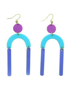 These Forever 80'S purple, blue and pink pastel geometric acrylic earrings are fun and will make you feel happy and cheerful, while adding the perfect pop of color to your wardrobe! Our colorful, eighties inspired earrings are handmade and designed with love in Las Vegas and like totally, make a statement!