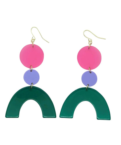 Rad Rainbow Emerald, Pink geometric acrylic earrings are fun and will make you feel happy and cheerful, while adding the perfect pop of color to your wardrobe! Our colorful, eighties inspired earrings are handmade and designed with love in Las Vegas and like totally, make a statement!