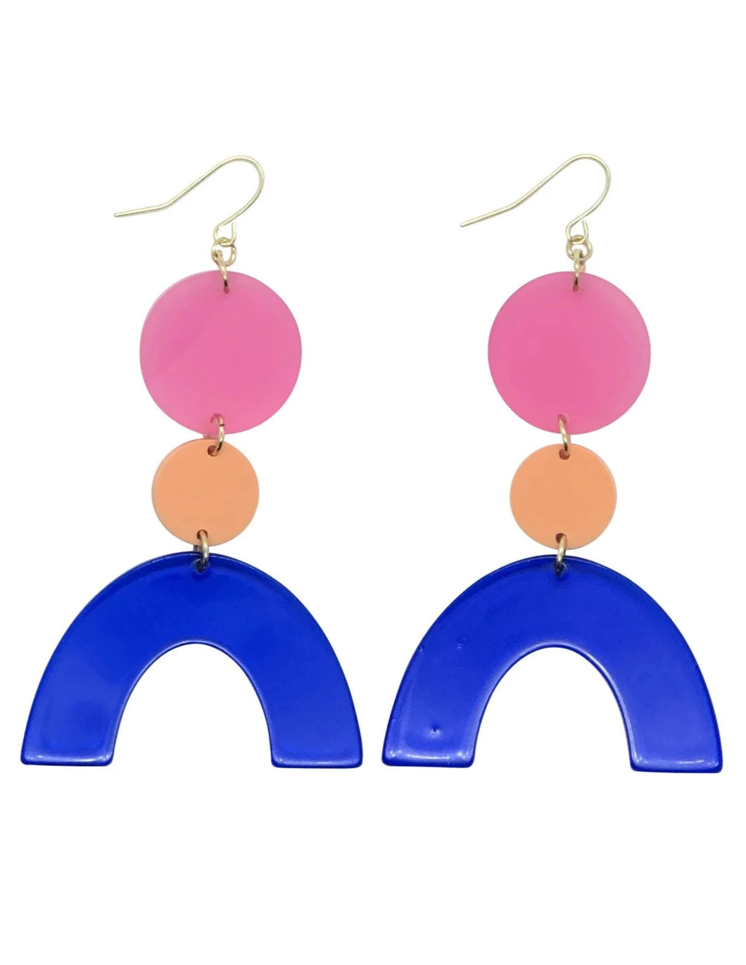 Rad Rainbow Emerald, Royal Blue geometric acrylic earrings are fun and will make you feel happy and cheerful, while adding the perfect pop of color to your wardrobe! Our colorful, eighties inspired earrings are handmade and designed with love in Las Vegas and like totally, make a statement!