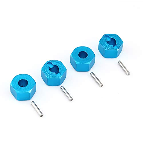 Hosim 12mm Wheel Hex Hub Mount and Pins Aluminum 7mm Thick for 1:10 Traxxas Slash 4x4 & HQ 727 RC Cars Replacement Upgrade Parts(4PCS Blue)