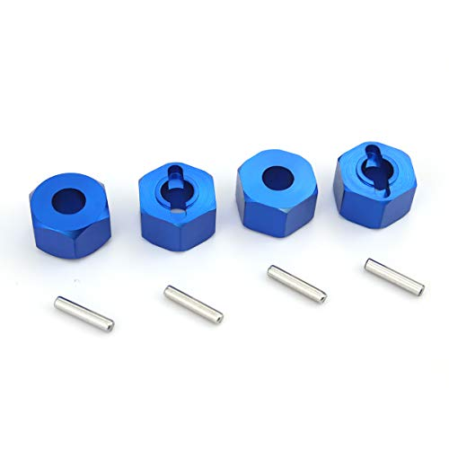 Hosim Hex Wheel Hub Mount, 12x7x7 mm Aluminum with 2x10mm Pins for 1/10 Traxxas Slash 4x4 & HQ 727 RC Cars Replacement Upgrade Parts (Set of 4)