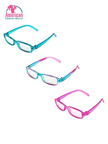 Three Pairs Multicolored Reading Glasses | Fits 18