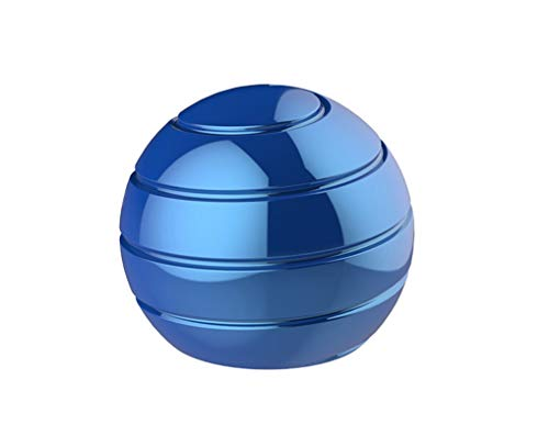 CaLeQi Desktop Ball Transfer Gyro Aluminum Alloy Kinetic Desk Toy Stress Relief Office Executive Gadgets Metal Ball Full Disassembly Rotary Decompression Toy-Small (Blue)