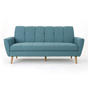 Christopher Knight Home 303692 Treston Mid Century Fabric Sofa, Blue/Natural