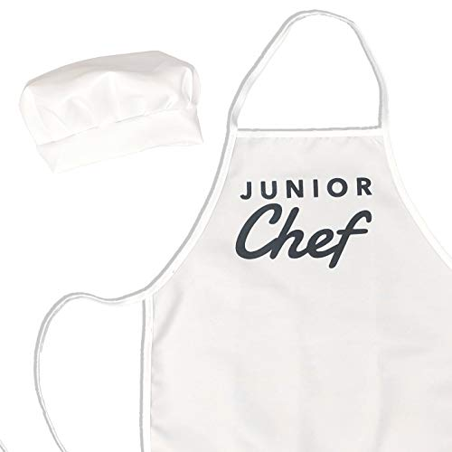 UP THE MOMENT Junior Chef Kids Apron & Chef Hat, Toddler Apron for Cooking, Childrens Chef Apron and Hat, Kids Apron and Chef Hat Set, White Kids Apron and Chef Hat