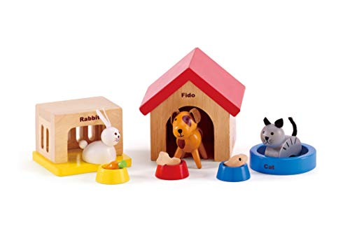 Family Pets Wooden Dollhouse Animal Set by Hape | Complete Your Wooden Dolls House with Happy Dog, Cat, Bunny Pet Set with Complimentary Houses and Food Bowls