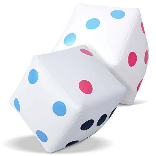 GoSports Giant 2 Foot Inflatable Dice for Dice Games | Jumbo Size with Rapid Valve Inflation, 2 Pack