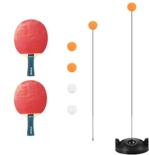 Table Tennis Trainer, Ping Pong Ball Training with Elastic Soft Shaft,2 Racket & 4 Practice Ball for Self-Training/Leisure/Decompression/Kid Indoor Outdoor Play