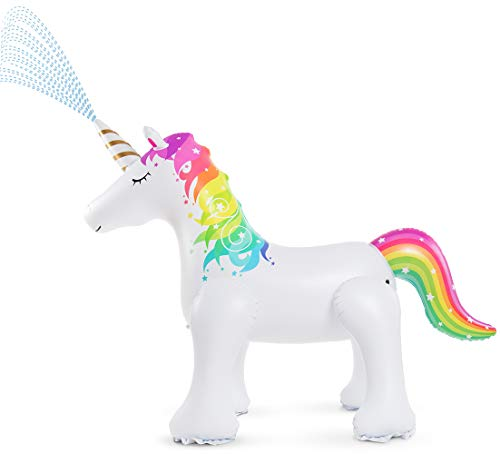 Jasonwell Unicorn Sprinkler Inflatable Unicorn Water Toys Outdoor Inflatable Ginormous Unicorn Yard Sprinkler for Kids (L)