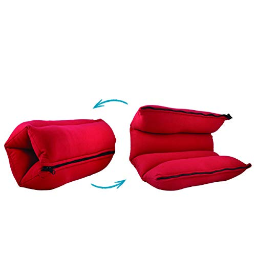 Yogibo ZippaRoll Multiple Purpose Roll up Pillow- Use as a Pillow, Seat Cushion or as Lumbar Back Support - Perfect for Neck, Back or Knees (Red)