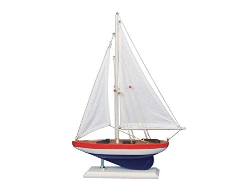 Hampton Nautical  Wooden USA Sailer Model Boat Decoration 17