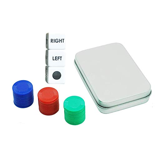 Left Right Center Dice Game Set, Family Game for Travel with 3 Dices + 36 Colorful Chips + Metal Box
