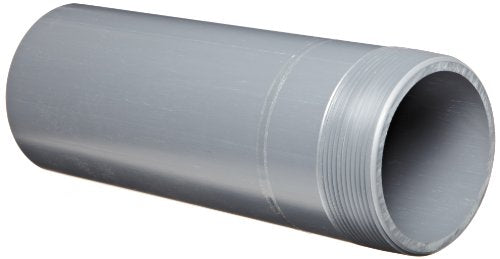 Spears 188N Series PVC Pipe Fitting, Nipple, Thread on One End, Schedule 80, Gray, 1-1/4